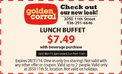 graphic relating to Golden Corral Printable Coupons named Godfathers lunch buffet discount coupons / Sunday paper coupon