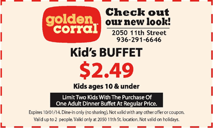 photo about Coupon for Golden Corral Buffet Printable named Golden corral discount codes purchase one particular receive just one absolutely free 2019