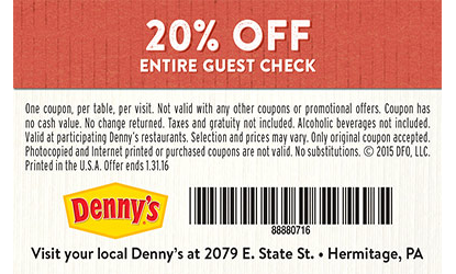 Dennys coupon codes 2018