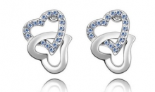 Deal Current S M -$11 for Fancy Double Heart Austrian Crystal Stud Earrings