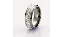 Deal Current SM-$12 for FANCY UNISEX TWO ROW OF AA CUBIC ZIRCONIA RING