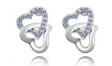 Deal Current S M -$11 for Fancy Double Heart Austrian Crystal Stud Earrings