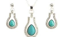 Deal Current RM-$17 for WATER DROP NATURAL TURQUOISE NECKLACE SET