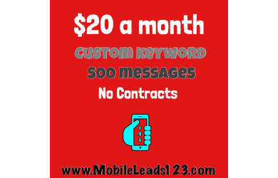 Purple Gorilla Deals-$20 for $40 worth of text messaging services from Mobileleads123.com, 500 MESSAGES AND A KEY WORD.