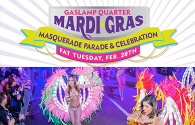Mardi Gras-$17.50 per Ticket to the 2017 Mardi Gras Celebration & Parade in the Gaslamp (Value $35)
